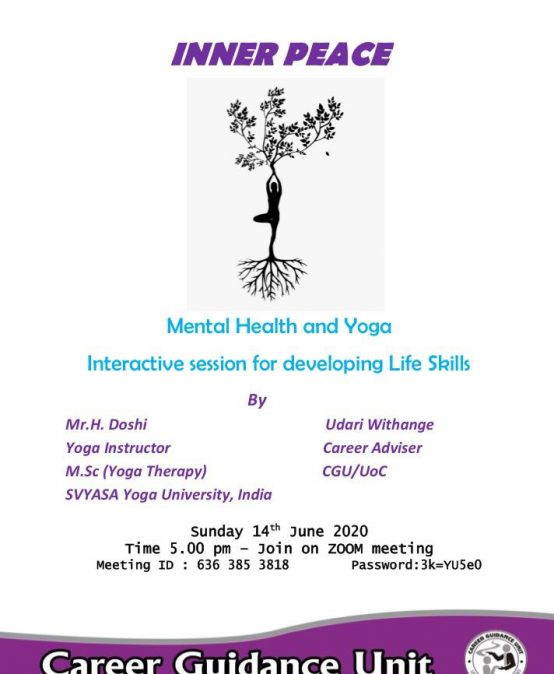 Inner Peace – Mental Health and Yoga Interactive session for the developing Life Skills